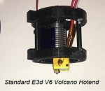 Assembled Single genuine E3d V6 hotend with volcano heat block and hardened steel nozzle